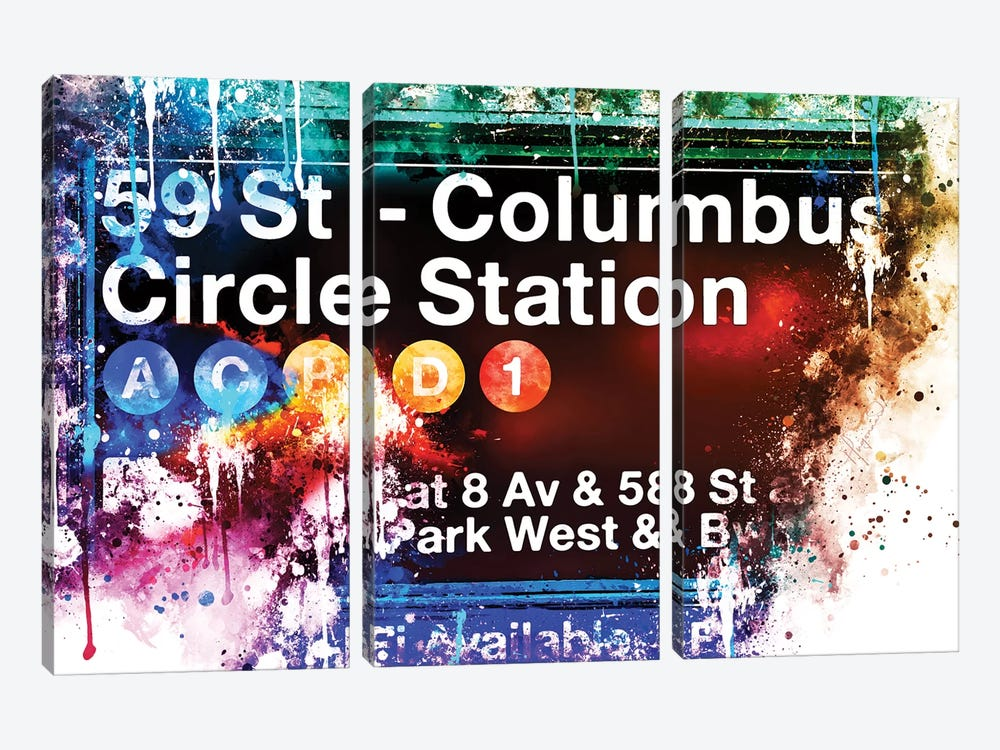 59 St Columbus Circle Station by Philippe Hugonnard 3-piece Canvas Art Print