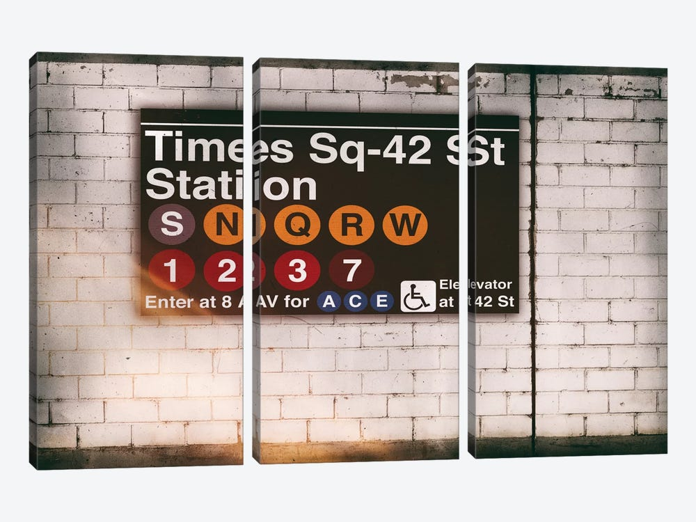 Subway Times Square - 42 St Station by Philippe Hugonnard 3-piece Canvas Print