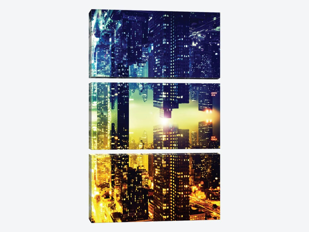 Double Sided - Manhattan Skyscapers by Philippe Hugonnard 3-piece Canvas Wall Art