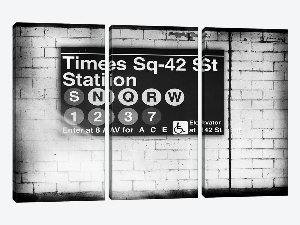 Subway Times Square - 42 Street Station - BW by Philippe Hugonnard 3-piece Art Print