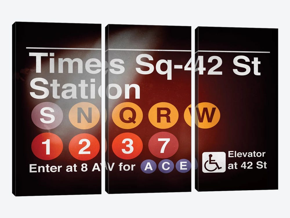 Subway Times Square - 42 Street Station by Philippe Hugonnard 3-piece Canvas Artwork