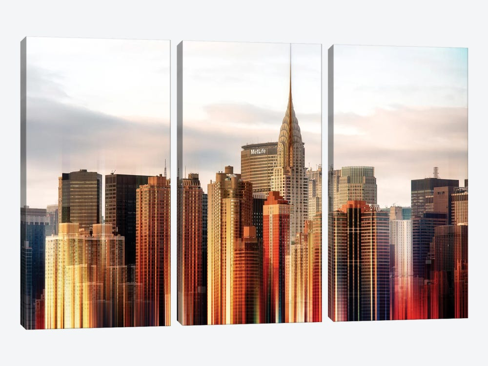 Urban Stretch Series - Chrysler Building by Philippe Hugonnard 3-piece Canvas Wall Art
