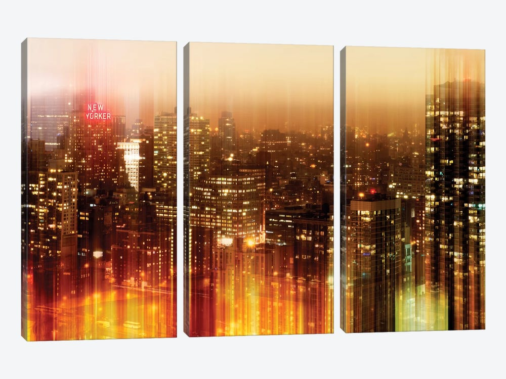 Urban Stretch Series - New York by Night by Philippe Hugonnard 3-piece Canvas Artwork
