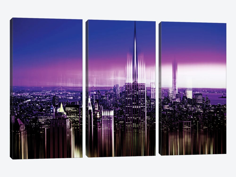 Urban Stretch Series - NYC Purple Night by Philippe Hugonnard 3-piece Canvas Print