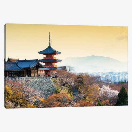 Pagoda Kiyomizu-Dera Temple At Sunset Canvas Print #PHD860} by Philippe Hugonnard Canvas Art