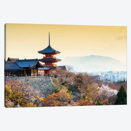 Pagoda Kiyomizu-Dera Temple At Sunset Canvas Print #PHD860} by Philippe Hugonnard Canvas Art