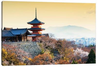 Pagoda Kiyomizu-Dera Temple At Sunset Canvas Art Print
