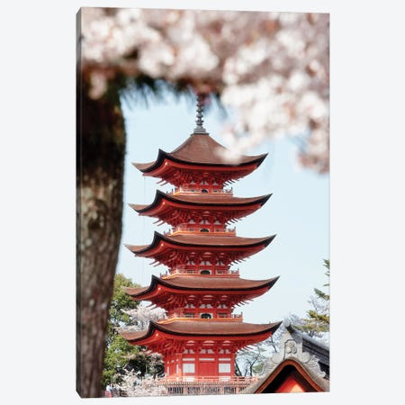 Miyajima Pagoda With Sakura Canvas Print #PHD868} by Philippe Hugonnard Canvas Artwork