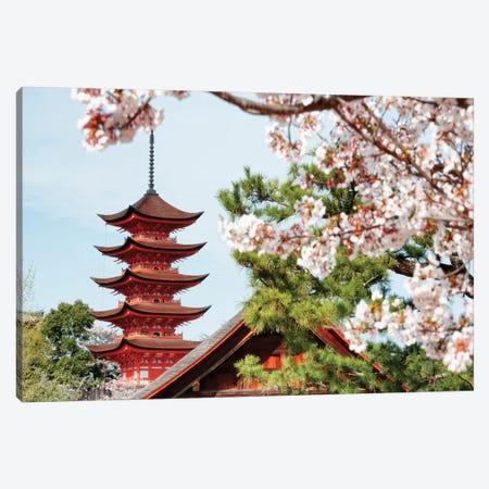Miyajima Pagoda With Sakura II Canvas Print #PHD869} by Philippe Hugonnard Canvas Wall Art