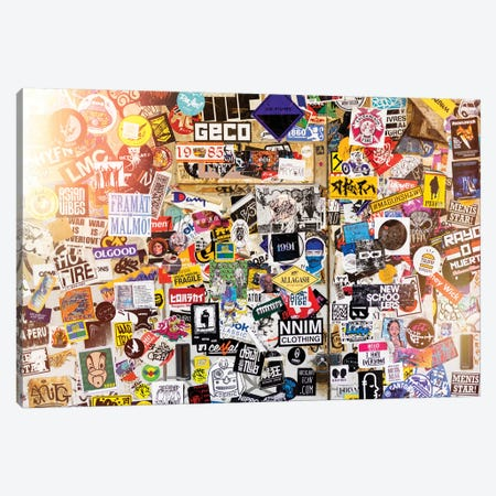 Sticker Wall In Tokyo Canvas Print #PHD876} by Philippe Hugonnard Canvas Art