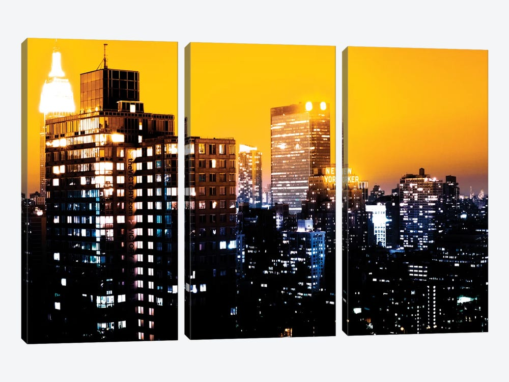 Yellow Night - NYC by Philippe Hugonnard 3-piece Canvas Print