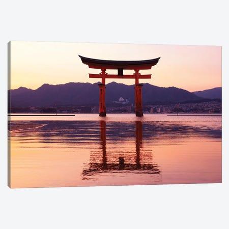 Sunset Of Torii Gate In Miyajima Canvas Print #PHD934} by Philippe Hugonnard Art Print