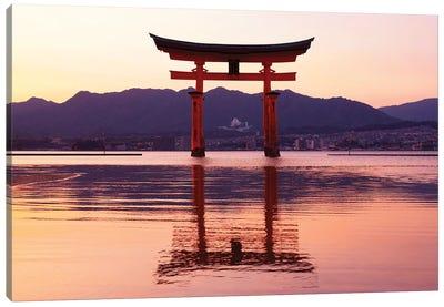 Sunset Of Torii Gate In Miyajima Canvas Art Print