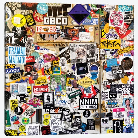 Sticker Wall In Tokyo Canvas Print #PHD938} by Philippe Hugonnard Canvas Wall Art