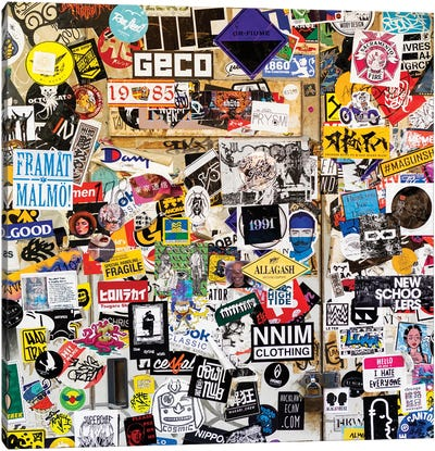 Sticker Wall In Tokyo Canvas Art Print