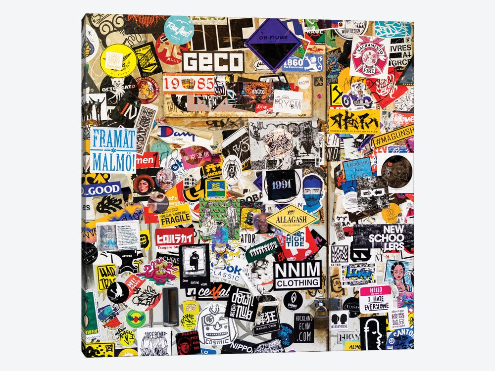 Sticker Wall In Tokyo by Philippe Hugonnard 1-piece Canvas Print