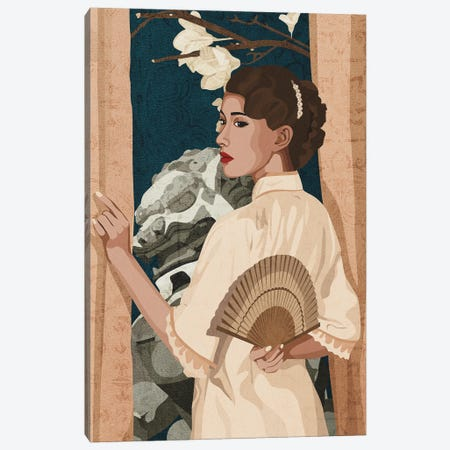 Chinese Beauty By The Window Canvas Print #PHG21} by Phung Banh Art Print