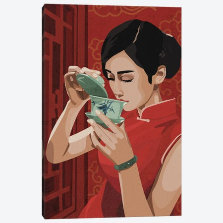 Sipping Tea Canvas Print #PHG29} by Phung Banh Art Print