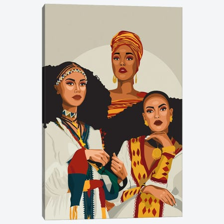 African Trio | Ethiopian, Somalia, Habesha Canvas Print #PHG31} by Phung Banh Canvas Artwork