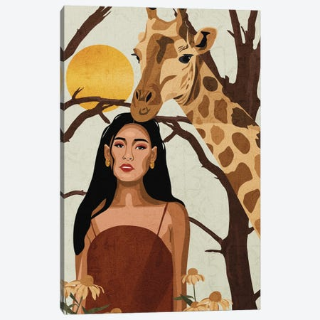 Connecting To Nature | Giraffe Canvas Print #PHG44} by Phung Banh Canvas Art