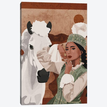 Kazakh Woman Canvas Print #PHG54} by Phung Banh Art Print