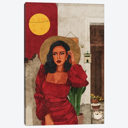 Red Dress Canvas Print #PHG70} by Phung Banh Canvas Wall Art