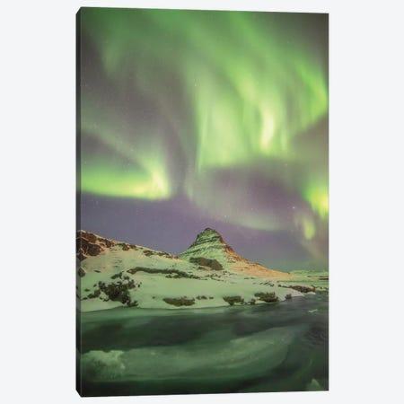Iceland Kirkjufell Aurora Borealis Canvas Print #PHM102} by Philippe Manguin Art Print