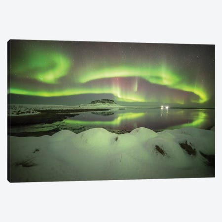 Kirkjufell Aurora In Iceland Canvas Print #PHM107} by Philippe Manguin Canvas Artwork
