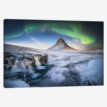 Kirkjufell Aurora Wall Art In Iceland 3-Piece Canvas #PHM108} by Philippe Manguin Canvas Print
