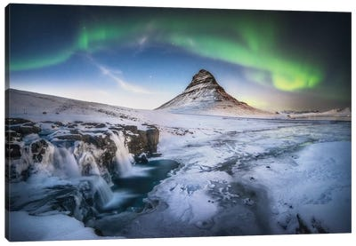 Kirkjufell Aurora Wall Art In Iceland Canvas Art Print