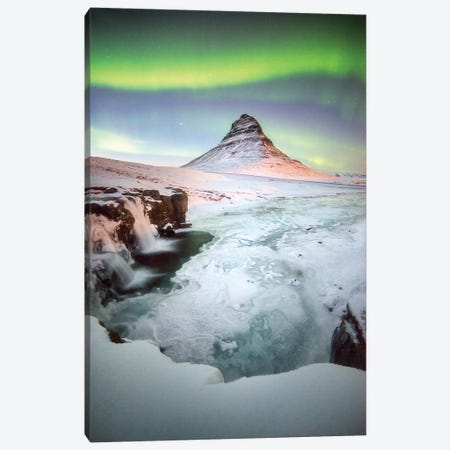 Kirkjufell Green Arch In Iceland Canvas Print #PHM110} by Philippe Manguin Canvas Wall Art