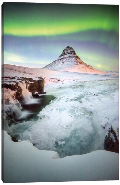 Kirkjufell Green Arch In Iceland Canvas Art Print
