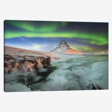 Kirkjufell Iceland Green Aurora Wall Art Canvas Print #PHM111} by Philippe Manguin Canvas Wall Art