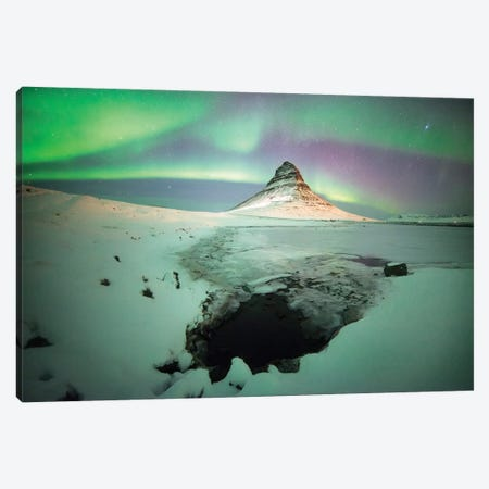 Kirkjufell Moutain Aurora Canvas Print #PHM112} by Philippe Manguin Canvas Wall Art