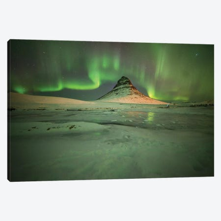 Kirkjufell Moutain Aurora Wall Art Canvas Print #PHM113} by Philippe Manguin Canvas Art