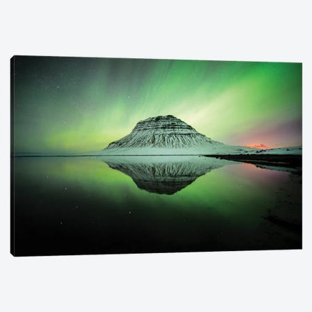 Kirkjufell Profile View In Iceland Aurora Wall Art 3-Piece Canvas #PHM114} by Philippe Manguin Canvas Art Print
