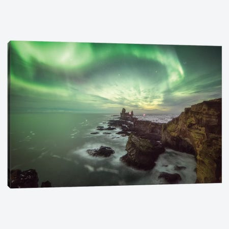 Londrangar In Iceland Canvas Print #PHM132} by Philippe Manguin Canvas Wall Art