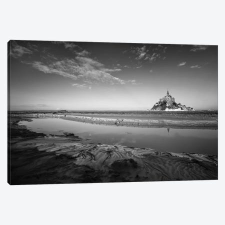 Mont Saint Michel Black And White 3-Piece Canvas #PHM139} by Philippe Manguin Canvas Art