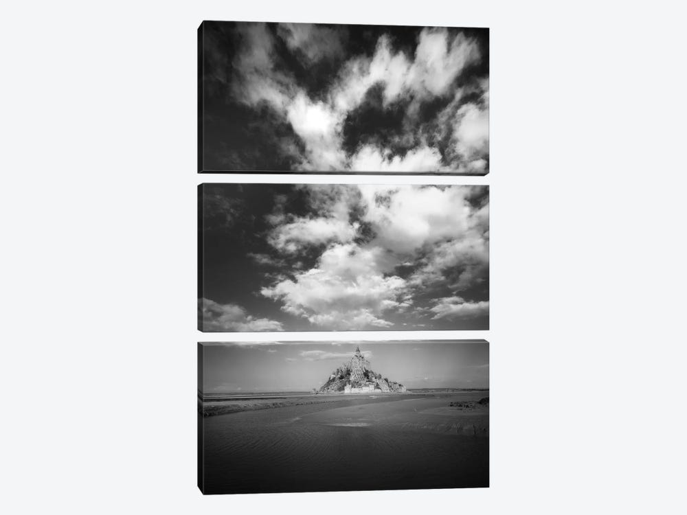 Mont Saint Michel Black And White Portrait With Cloudy Sky by Philippe Manguin 3-piece Art Print