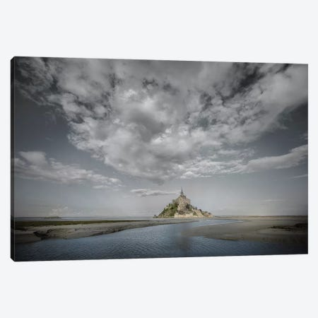 Mont Saint Michel Mix Black And White w Color Canvas Print #PHM146} by Philippe Manguin Canvas Artwork