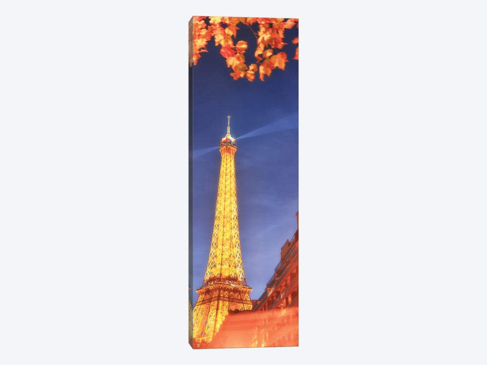 Panoramic Red Eiffel Tower by Philippe Manguin 1-piece Canvas Art