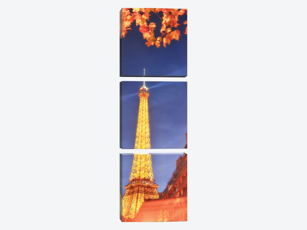 Panoramic Red Eiffel Tower by Philippe Manguin 3-piece Canvas Artwork