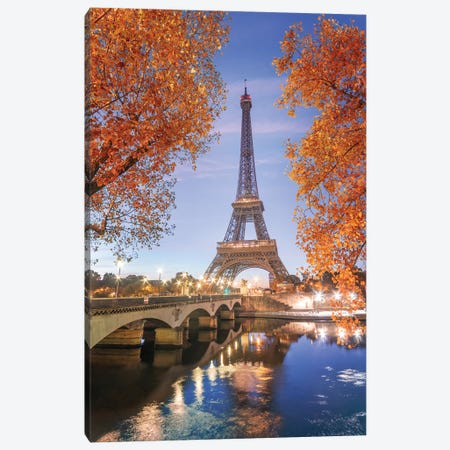 Paris Eiffel Tower - Red Touch Canvas Print #PHM170} by Philippe Manguin Canvas Wall Art