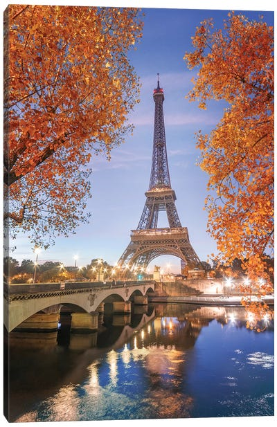 Paris Eiffel Tower - Red Touch Canvas Art Print