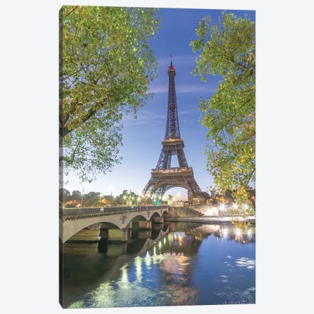 Paris Eiffel Tower Green Canvas Print #PHM172} by Philippe Manguin Canvas Artwork