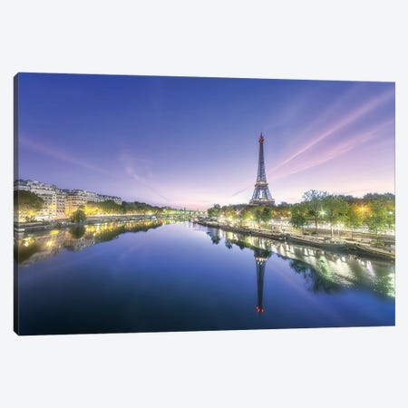 Paris Sunrise On The Seine Canvas Print #PHM176} by Philippe Manguin Canvas Art Print