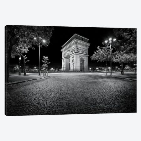 Paris, Arc De Triomphe In Black And White Canvas Print #PHM179} by Philippe Manguin Canvas Artwork