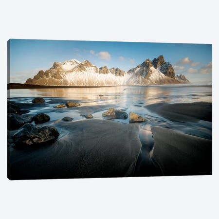 Stokksnes Under Iceland Blue Sky Canvas Print #PHM190} by Philippe Manguin Canvas Art