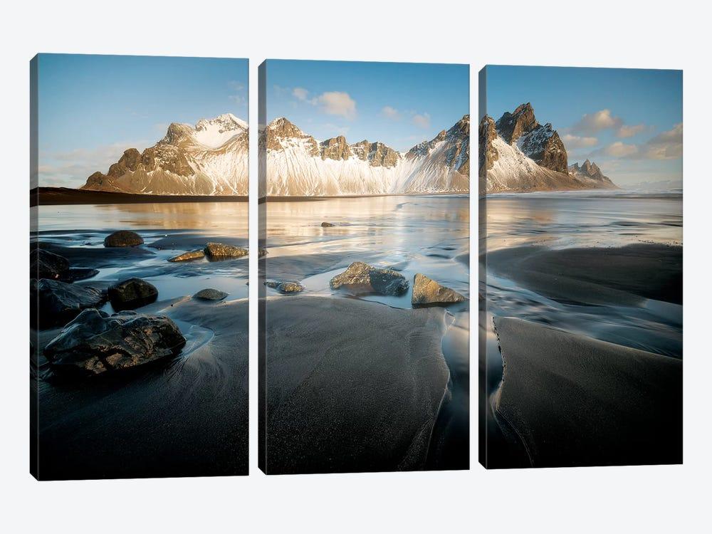 Stokksnes Under Iceland Blue Sky by Philippe Manguin 3-piece Canvas Print