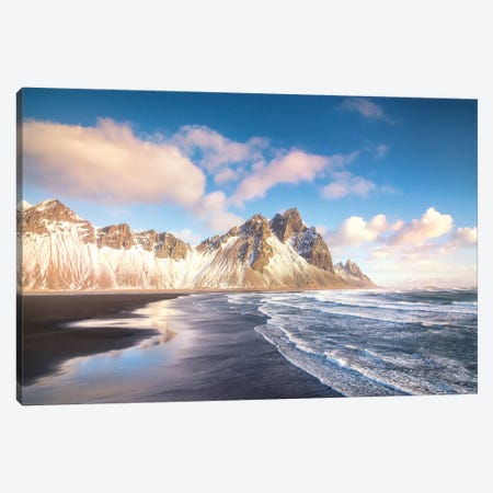 Stokksnes Blue Sky In Iceland Canvas Print #PHM191} by Philippe Manguin Canvas Art